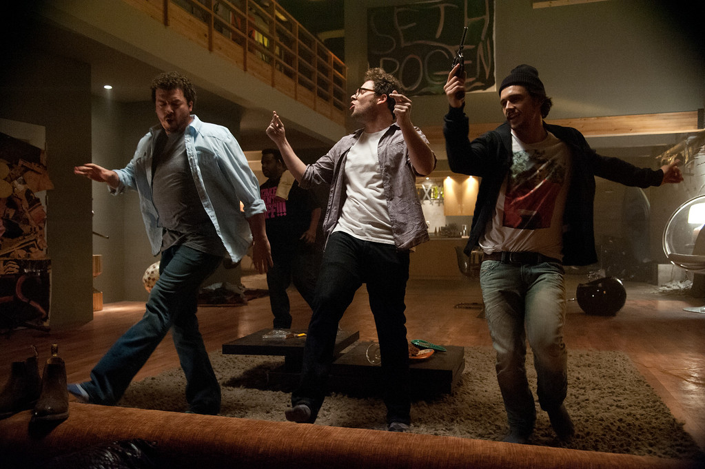 ". L-r, Danny McBride, Seth Rogen and James Franco in Columbia Pictures\' ""This Is The End,\"" also starring Craig Robinson, Jay Baruchel and Jonah Hill. © 2013 Columbia Pictures Industries, Inc."