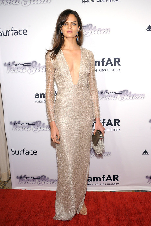. NEW YORK, NY - JUNE 13:  Model Barbara Fialho attends the 4th Annual amfAR Inspiration Gala New York at The Plaza Hotel on June 13, 2013 in New York City.  (Photo by Michael Loccisano/Getty Images)