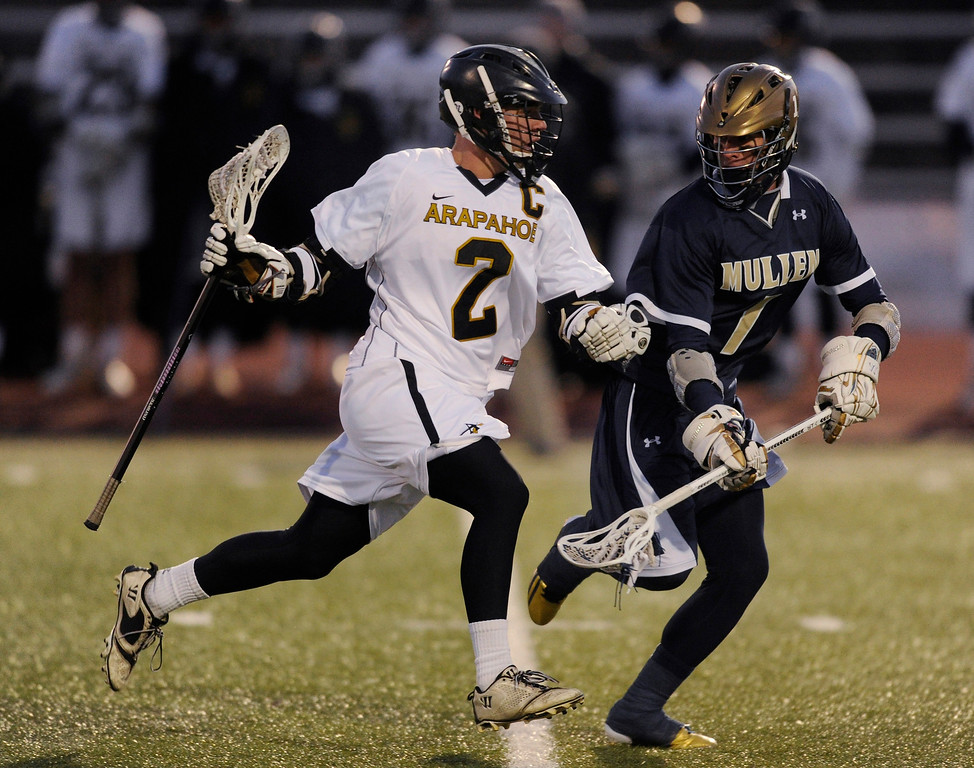 . LITTLETON, CO. - APRIL 10: Warriors senior middie Michael Babb (2) tried to get past Mullen\'s Casey Miller (1) in the second quarter. The Mullen High School boy\'s lacrosse team defeated Arapahoe 8-7 Wednesday night, April 10, 2013. Photo By Karl Gehring/The Denver Post)