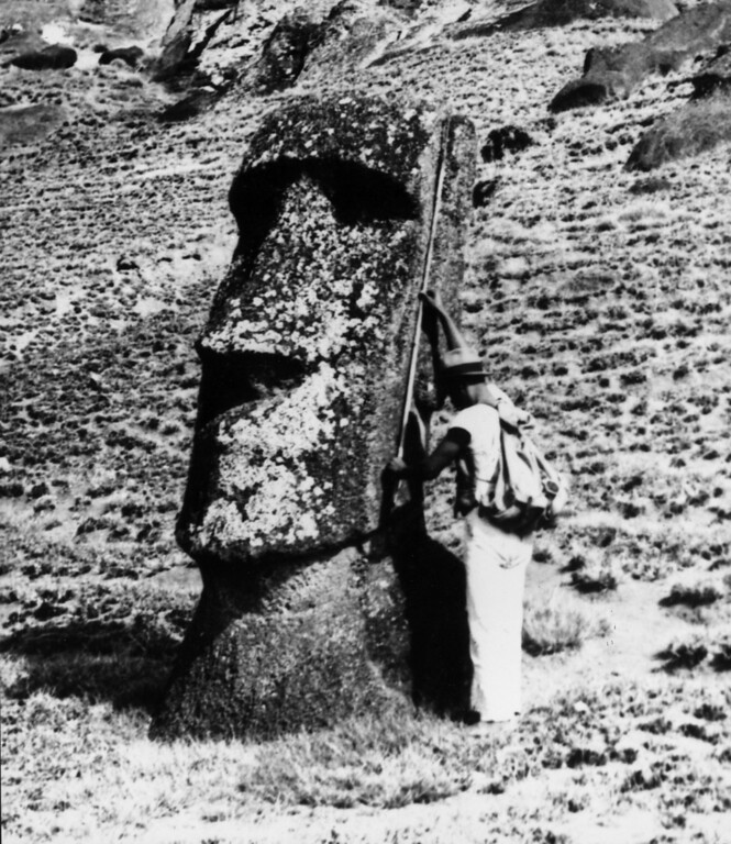 . circa 1955:  Stone heads made from volcanic rock face the elements on Easter Island.  (Photo by Evans/Three Lions/Getty Images)
