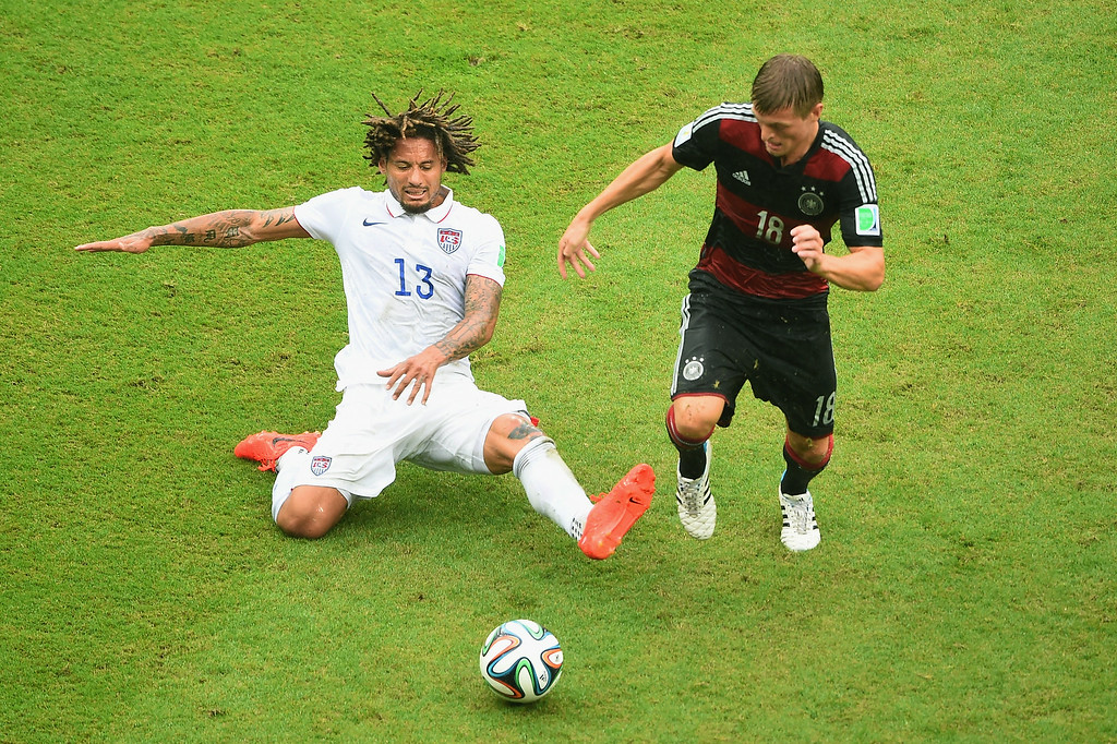 . Jermaine Jones of the United States challenges Philipp Lahm of Germany during the 2014 FIFA World Cup Brazil group G match between the United States and Germany at Arena Pernambuco on June 26, 2014 in Recife, Brazil.  (Photo by Laurence Griffiths/Getty Images)