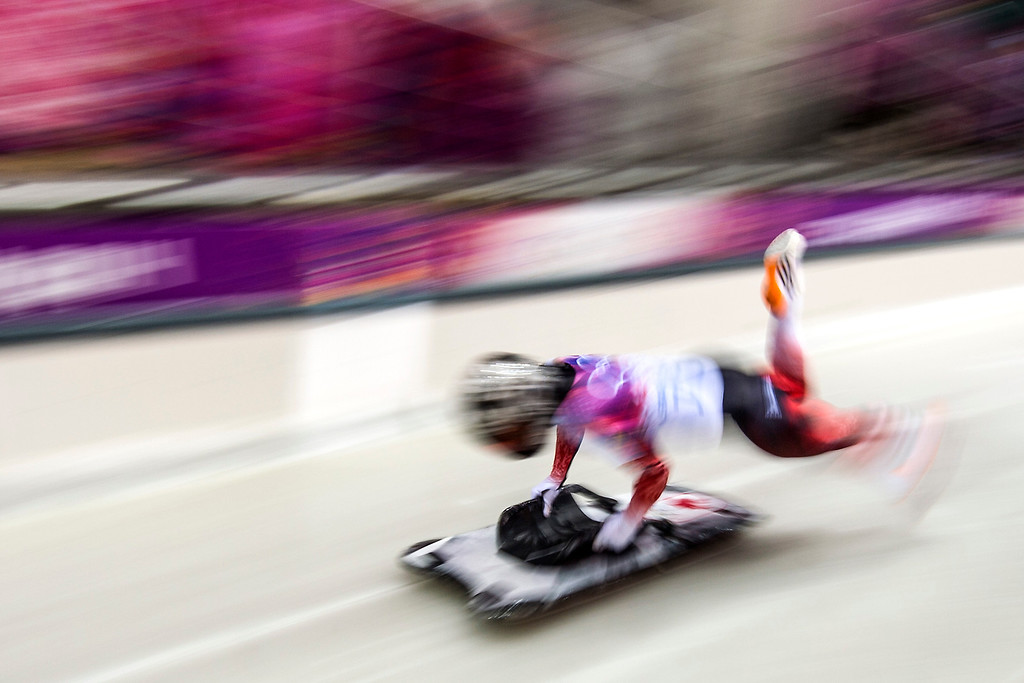 . Canada\'s Sarah Reid competes in the women\'s skeleton at the Sanki Sliding Center during the 2014 Sochi Olympics Thursday February 13, 2014. 