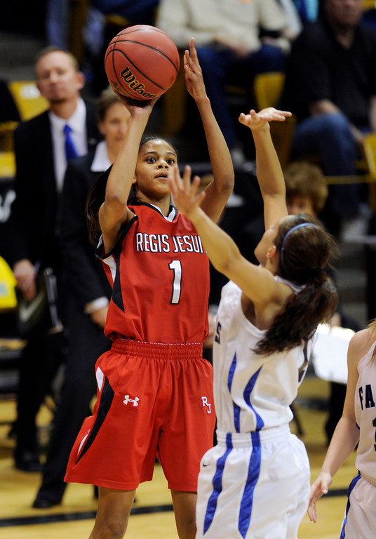 . BOULDER, CO. - MARCH 16: Raiders guard Justine Hall (1) found an open shot from the corner in the first half. The Regis Jesuit High School girl\'s basketball team took on Highlands Ranch in the 5A championship game Saturday, March 16, 2013 at the Coors Events Center in Boulder.  (Photo By Karl Gehring/The Denver Post)