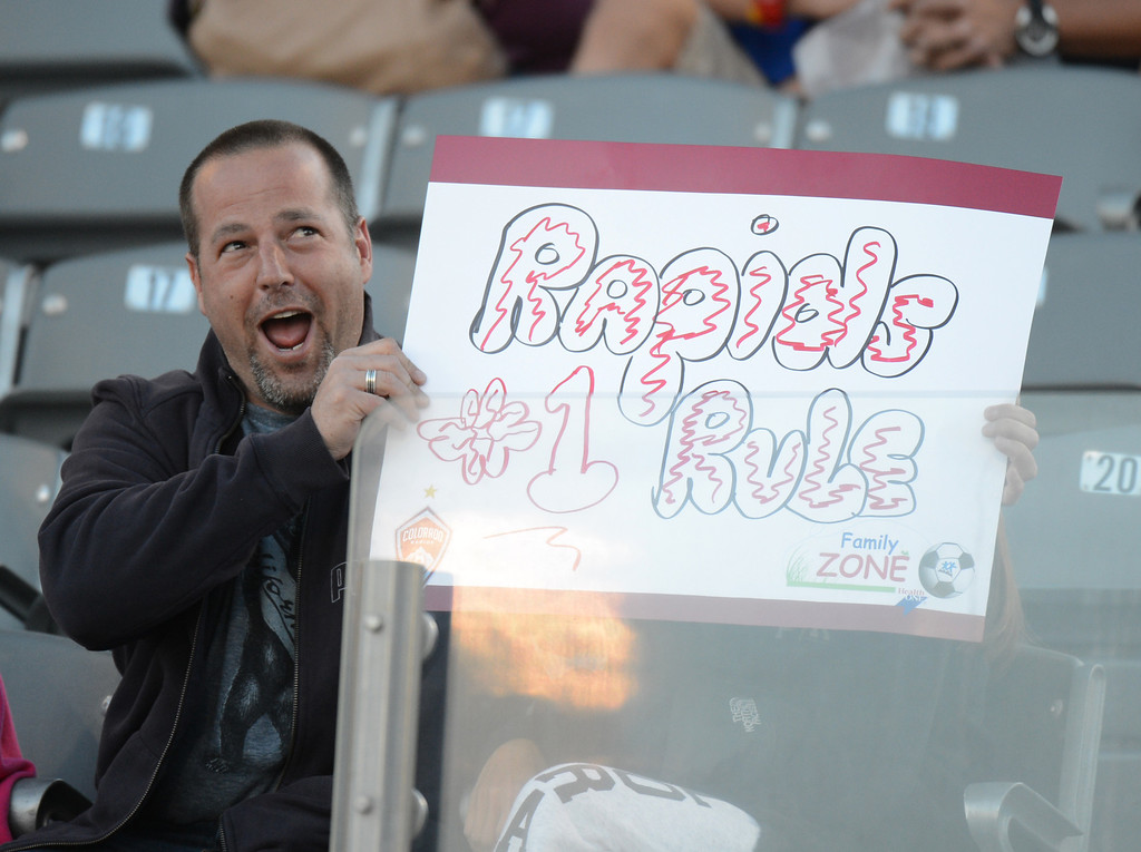 . COMMERCE CITY, CO. - June 01: A Colorado Rapids fan cheer the team during the 1st half of the game against FC Dallas at Dick\'s Sporting Goods Park. Commerce City, Colorado. June 1, 2013. (Photo By Hyoung Chang/The Denver Post)