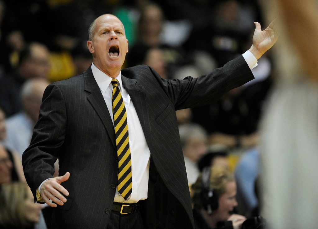 . BOULDER, CO. - MARCH 7: Colorado coach Tad Boyle got his point across in the second half. The University of Colorado men\'s basketball team defeated Oregon 76-53 Thursday night, March 7, 2013 at the CU Events Center in Boulder. (Photo By Karl Gehring/The Denver Post)