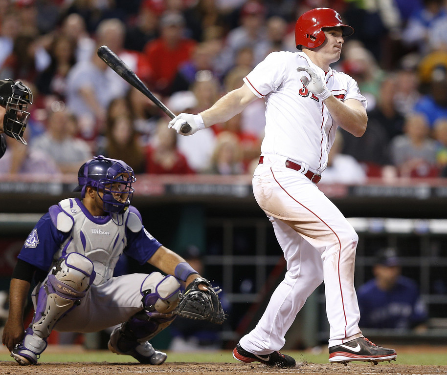 . Jay Bruce #32 of the Cincinnati Reds bats against the Colorado Rockies during the game at Great American Ball Park on June 3, 2013 in Cincinnati, Ohio. The Reds won 3-0. (Photo by Joe Robbins/Getty Images)