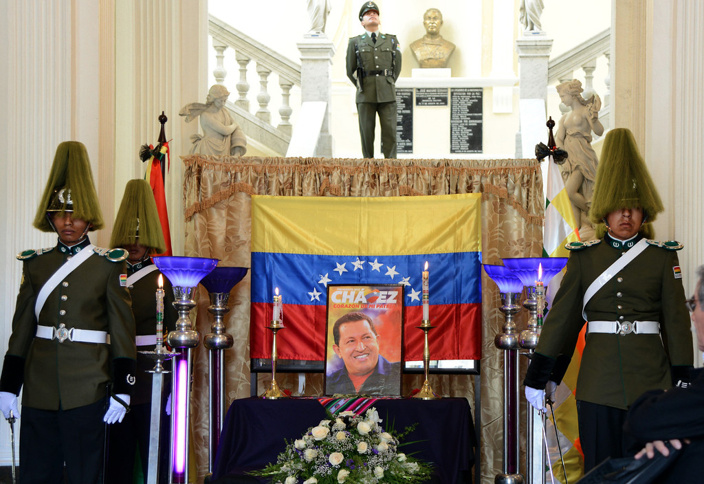 . A symbolic funeral chapel is installed at the Bolivian Parliament to pay tribute to Venezuelean President Hugo Chavez on March 6, 2013 in La Paz. AFP PHOTO/Aizar  RALDES/AFP/Getty Images