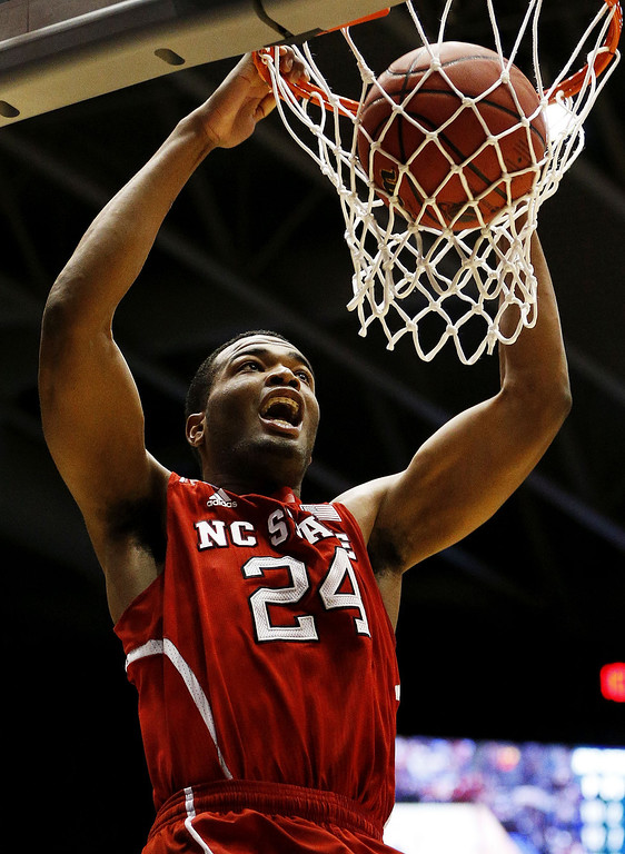 . T.J. Warren #24 of the North Carolina State Wolfpack dunks against the Xavier Musketeers in the second half during the first round of the 2014 NCAA Men\'s Basketball Tournament at at University of Dayton Arena on March 18, 2014 in Dayton, Ohio.  (Photo by Gregory Shamus/Getty Images)