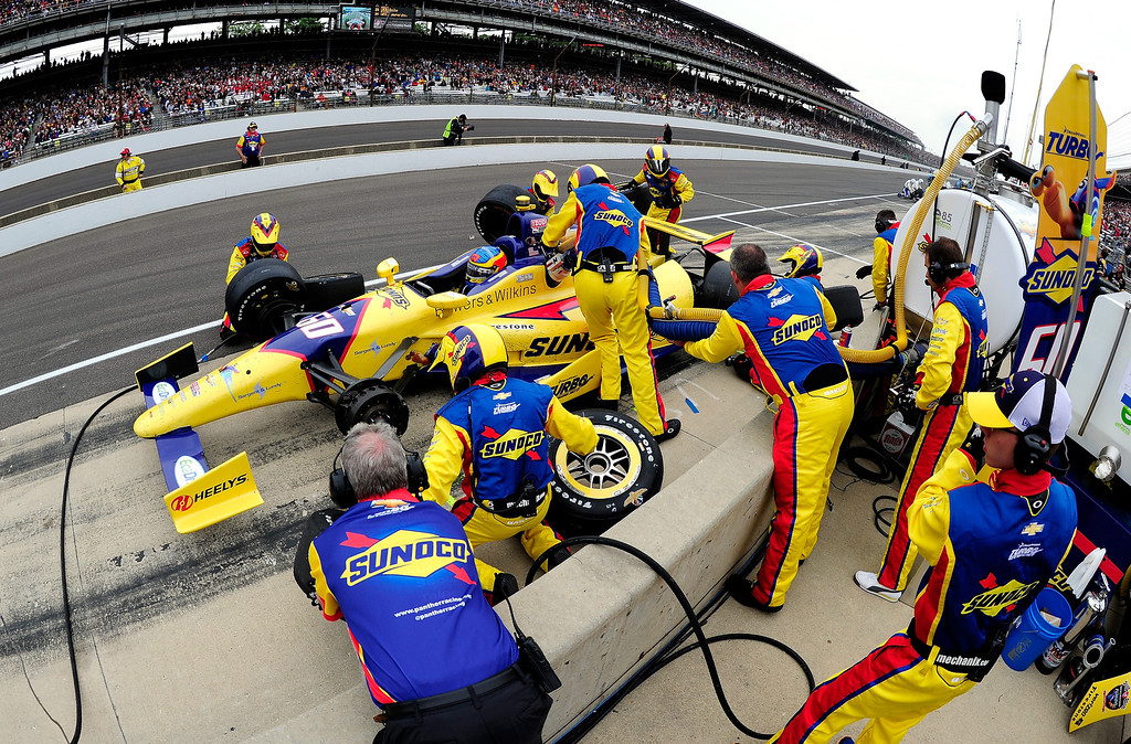 """. Townsend Bell, driver of the #60 Sunoco \""""Turbo\"""" Panther Racing Chevrolet, during the IZOD IndyCar Series 97th running of the Indianpolis 500 mile race at the Indianapolis Motor Speedway on May 26, 2013 in Indianapolis, Indiana.  (Photo by Robert Laberge/Getty Images)"""