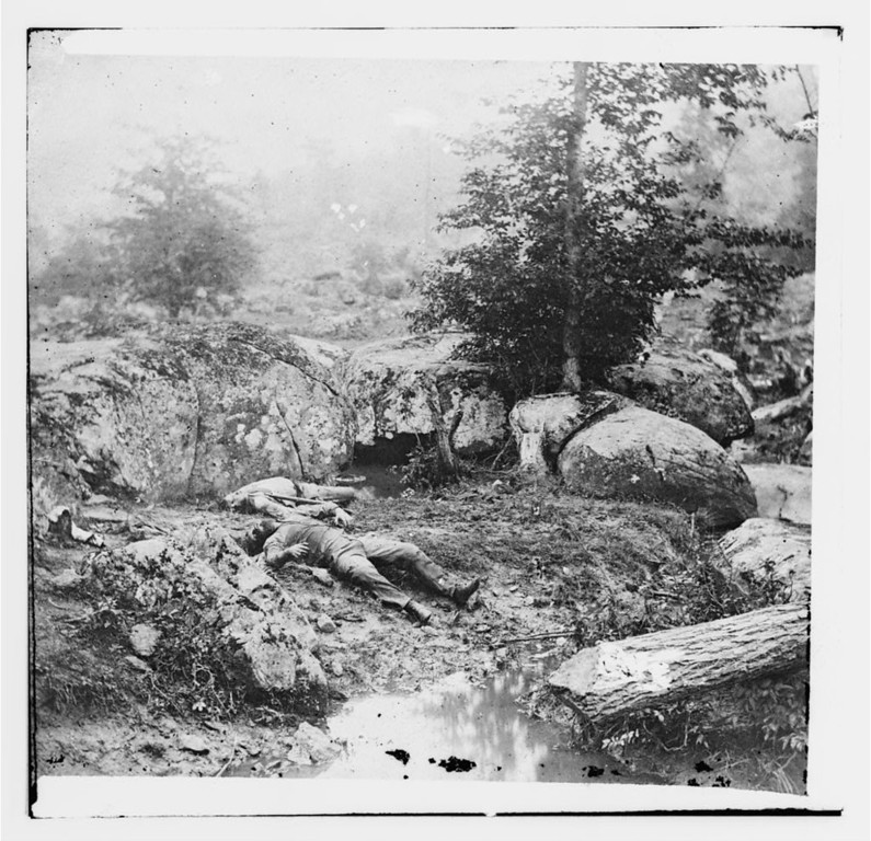 ". Gettysburg, Pa. Dead Confederate soldiers in the ""slaughter pen\"" at the foot of Little Round Top  - Library of Congress Prints and Photographs Division Washington, D.C."