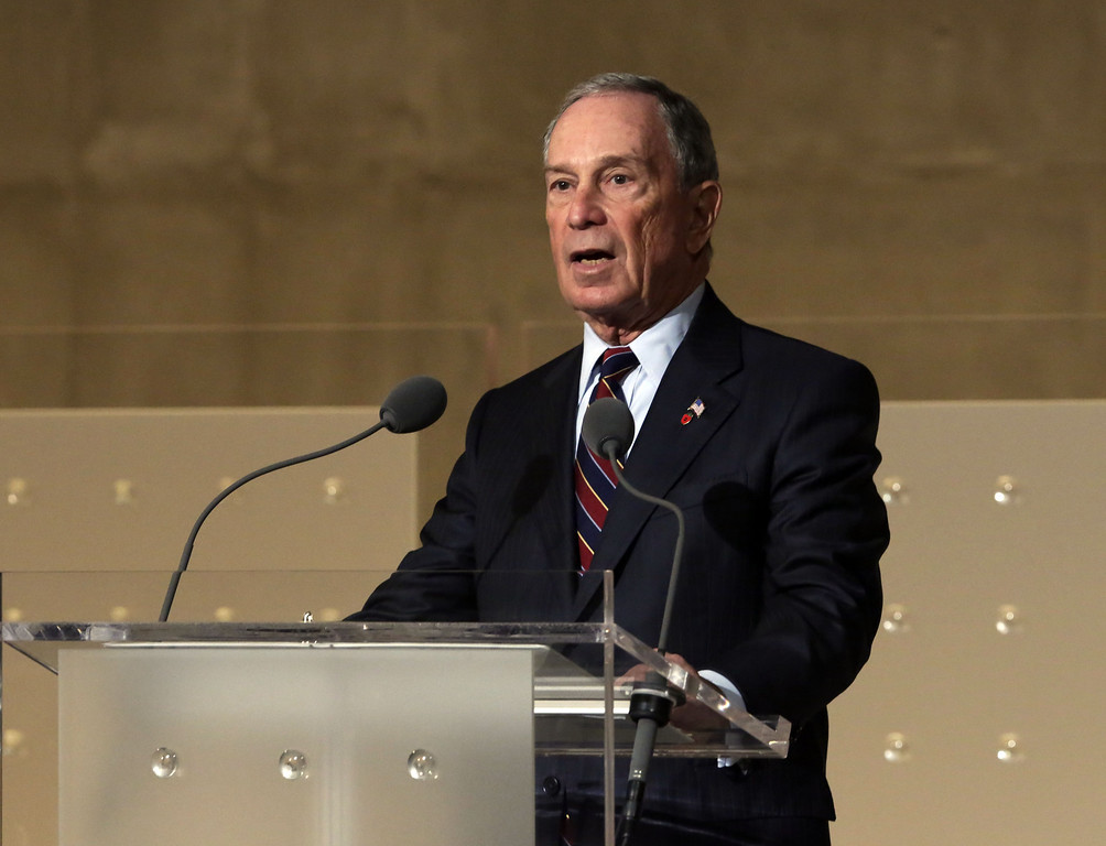 . Former New York Mayor and current chairman of the National September 11 Memorial Museum, Michael Bloomberg, delivers his remarks during the dedication ceremony in Foundation Hall at the National September 11 Memorial Museum at ground zero May 15, 2014 in New York City.(Photo by Richard Drew-Pool/Getty Images)