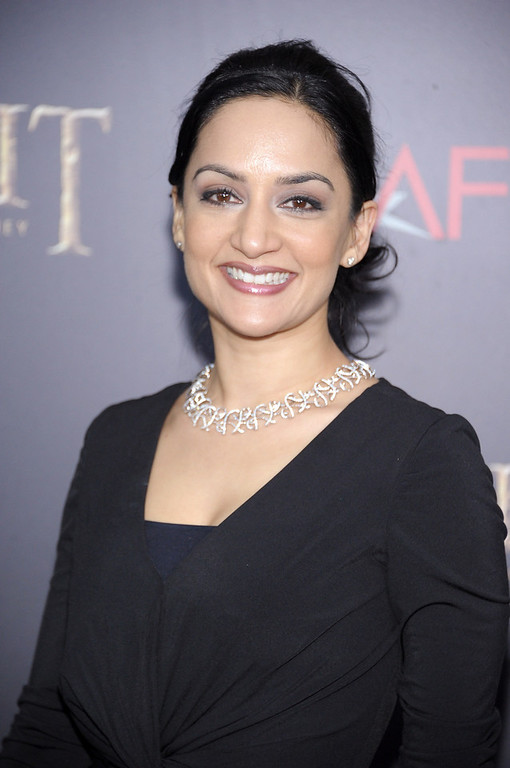 """. Archie Panjabi attends \""""The Hobbit: An Unexpected Journey\"""" New York Premiere Benefiting AFI - Red Carpet And Introduction at Ziegfeld Theater on December 6, 2012 in New York City.  (Photo by Michael Loccisano/Getty Images)"""
