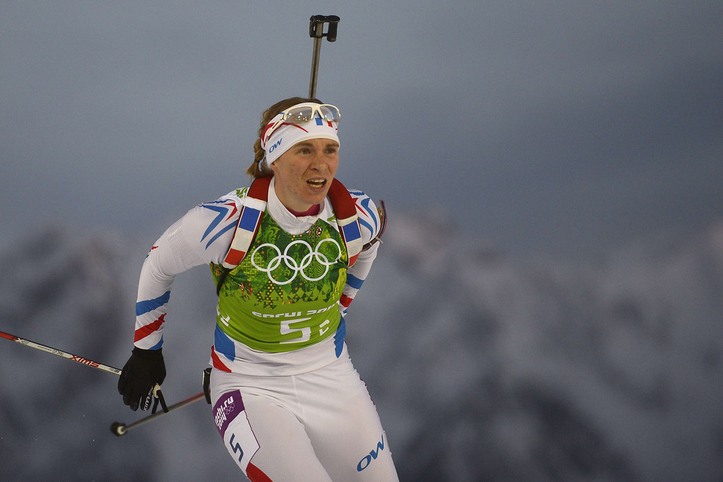 . France\'s Anais Bescond competes in the Biathlon mixed 2x6 km + 2x7,5 km Relay at the Laura Cross-Country Ski and Biathlon Center during the Sochi Winter Olympics on February 19, 2014 in Rosa Khutor near Sochi.    AFP PHOTO / AFP PHOTO / PIERRE-PHILIPPE  MARCOU/AFP/Getty Images