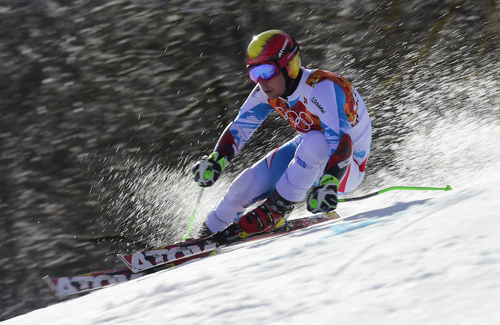 . Austria\'s Marcel Hirscher competes during the Men\'s Alpine Skiing Giant Slalom Run 2 at the Rosa Khutor Alpine Center during the Sochi Winter Olympics on February 19, 2014.      AFP PHOTO / FABRICE COFFRINI  /AFP/Getty Images