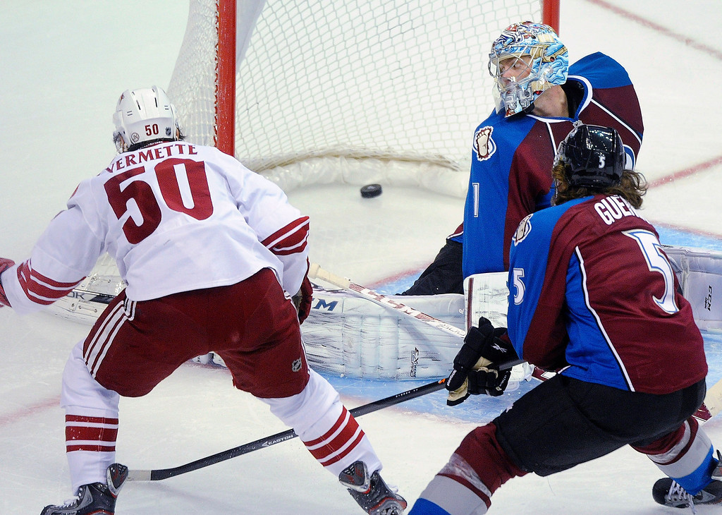 . Phoenix center Antoine Vermette (50) blasted a shot past Avs goalie Semyon Varlamov (1) in the second period.   Photo By Karl Gehring/The Denver Post
