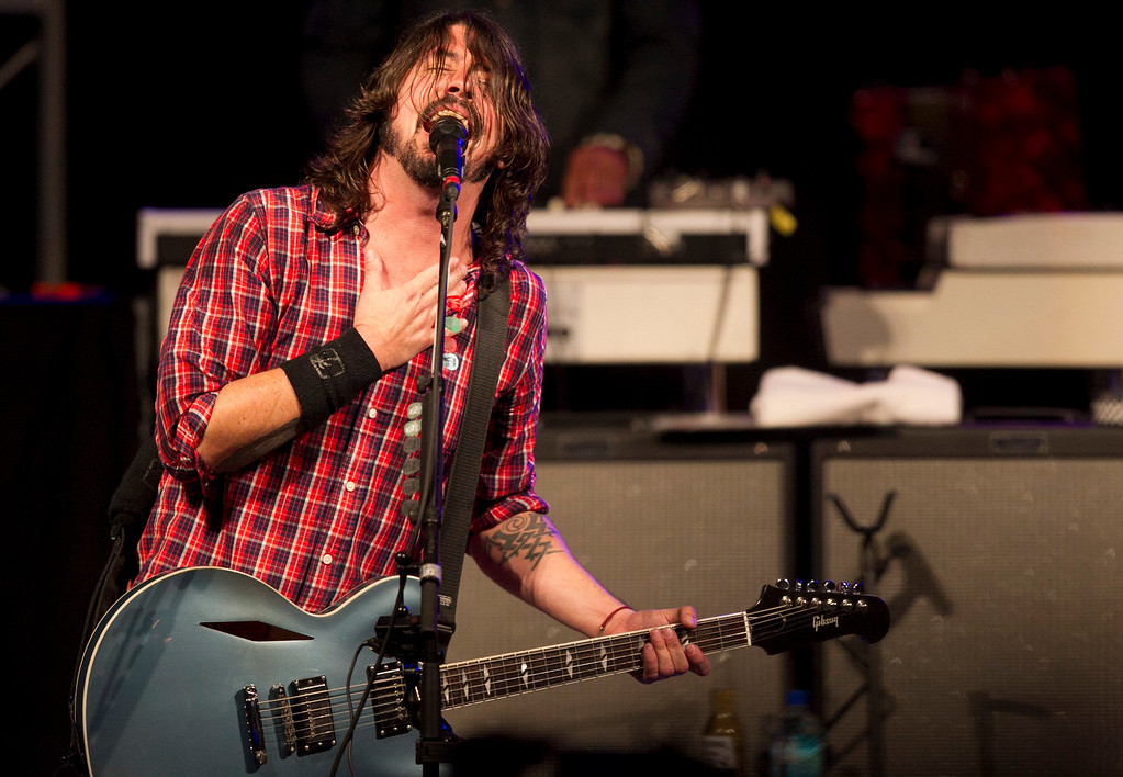 . Dave Grohl performs with the Sound City Players at Stubb\'s during SXSW 2013 on Thursday, March 14, 2013 in Austin, Texas. (AP Photo/Austin American-Statesman, statesman.com, Jay Janner)