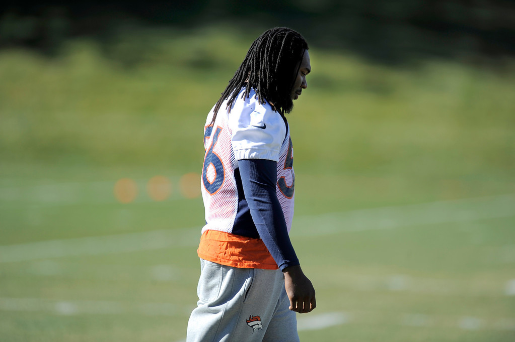 . Denver Broncos outside linebacker Nate Irving (56) heads to the conditioning center during practice November 13, 2013 at Dove Valley (Photo by John Leyba/The Denver Post)
