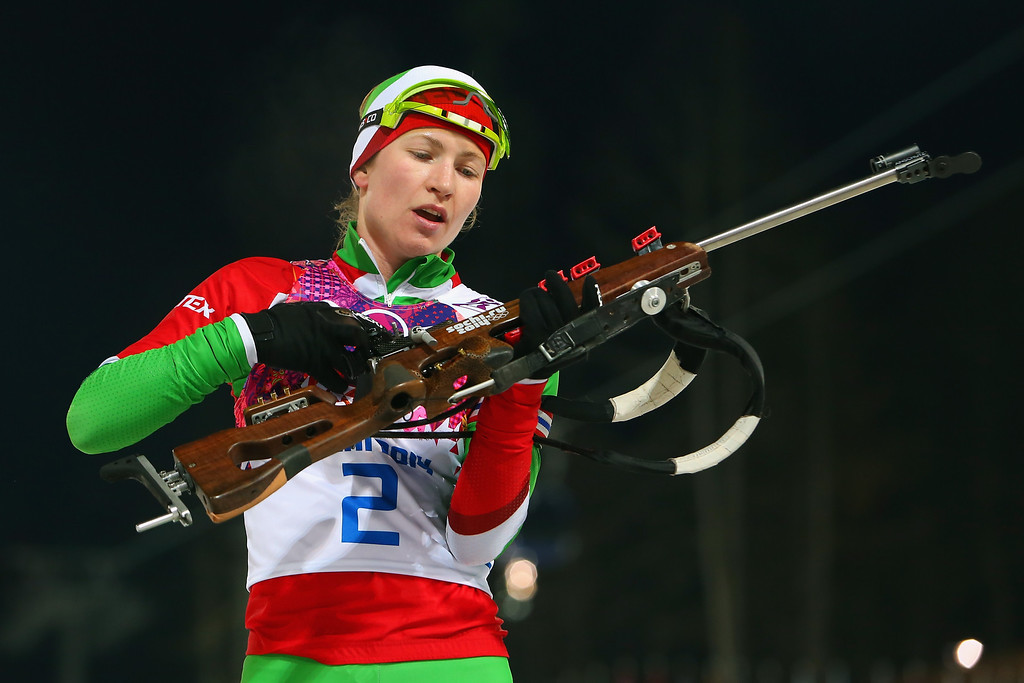 . Darya Domracheva of Belarus competes in the Women\'s 12.5 km Mass Start during day ten of the Sochi 2014 Winter Olympics at Laura Cross-country Ski & Biathlon Center on February 17, 2014 in Sochi, Russia.  (Photo by Alexander Hassenstein/Getty Images)