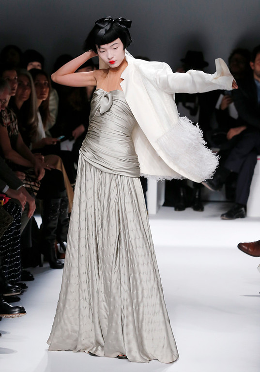 . A model wears a creation for Schiaparelli\'s Spring-Summer 2014 Haute Couture fashion collection presented in Paris, Monday, Jan.20, 2014. (AP Photo/Jacques Brinon)