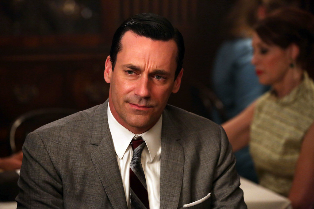 ". This TV publicity image released by AMC shows Jon Hamm as Don Draper in a scene from ""Mad Men.\"" Hamm was nominated for an Emmy Award for best actor in a drama series on Thursday, July 10, 2014, for his role as Don Draper. The 66th Primetime Emmy Awards will be presented Aug. 25 at the Nokia Theatre in Los Angeles.  (AP Photo/AMC, Michael Yarish)"