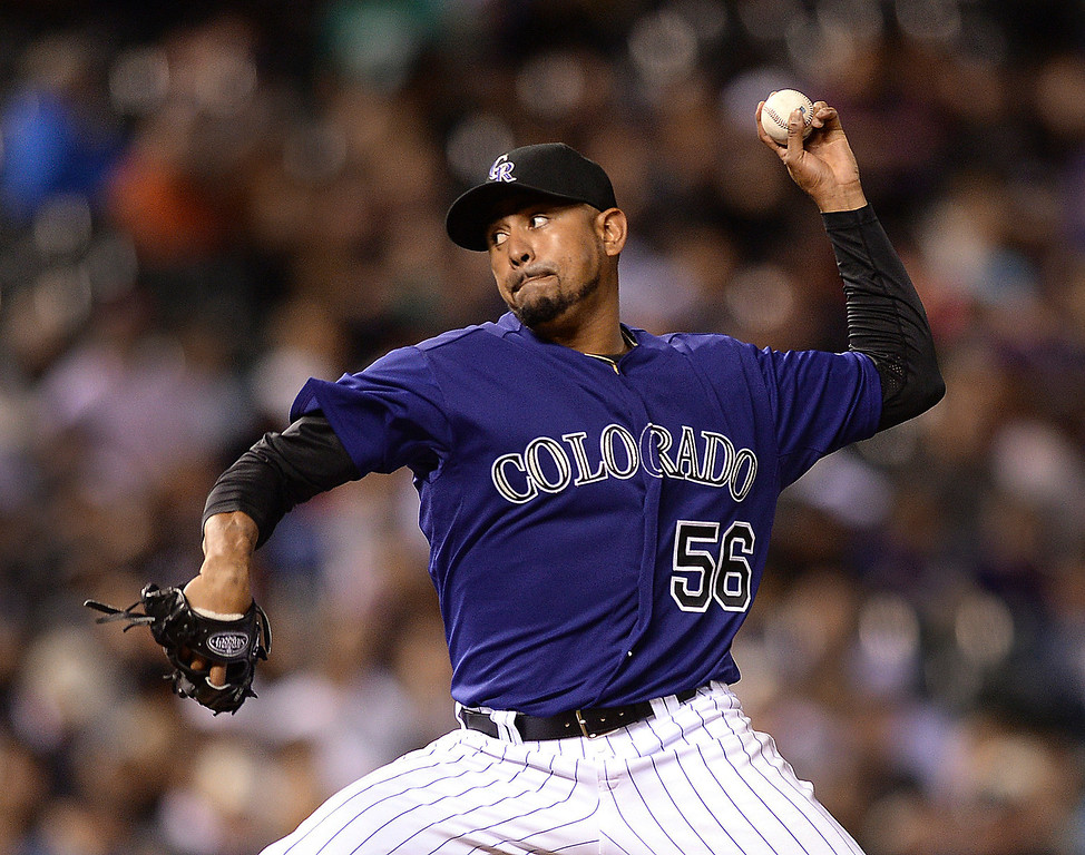 . Colorado lefty Franklin Morales pitched in the seventh inning as the Colorado Rockies hosted the Chicago White Sox Tuesday night, April 8, 2014 at Coors Field in Denver.  (Photo by Karl Gehring/The Denver Post)