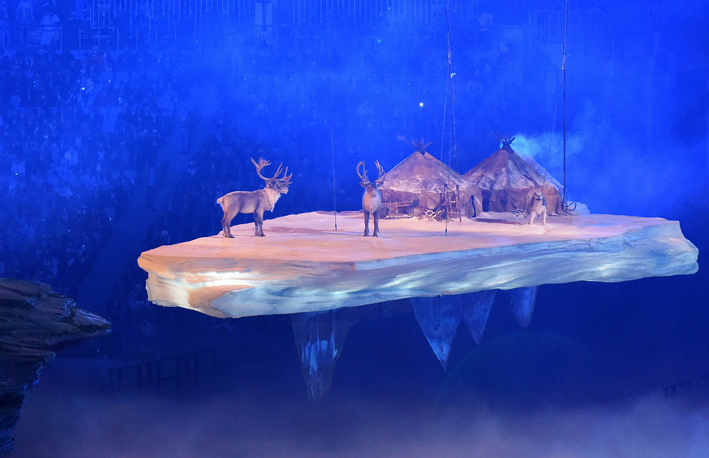 . Reindeer stand near gurs as a Russian rural landscape scene floats past during the Opening Ceremony of the Sochi Winter Olympics at the Fisht Olympic Stadium on February 7, 2014 in Sochi. AFP PHOTO / DAMIEN  MEYER/AFP/Getty Images