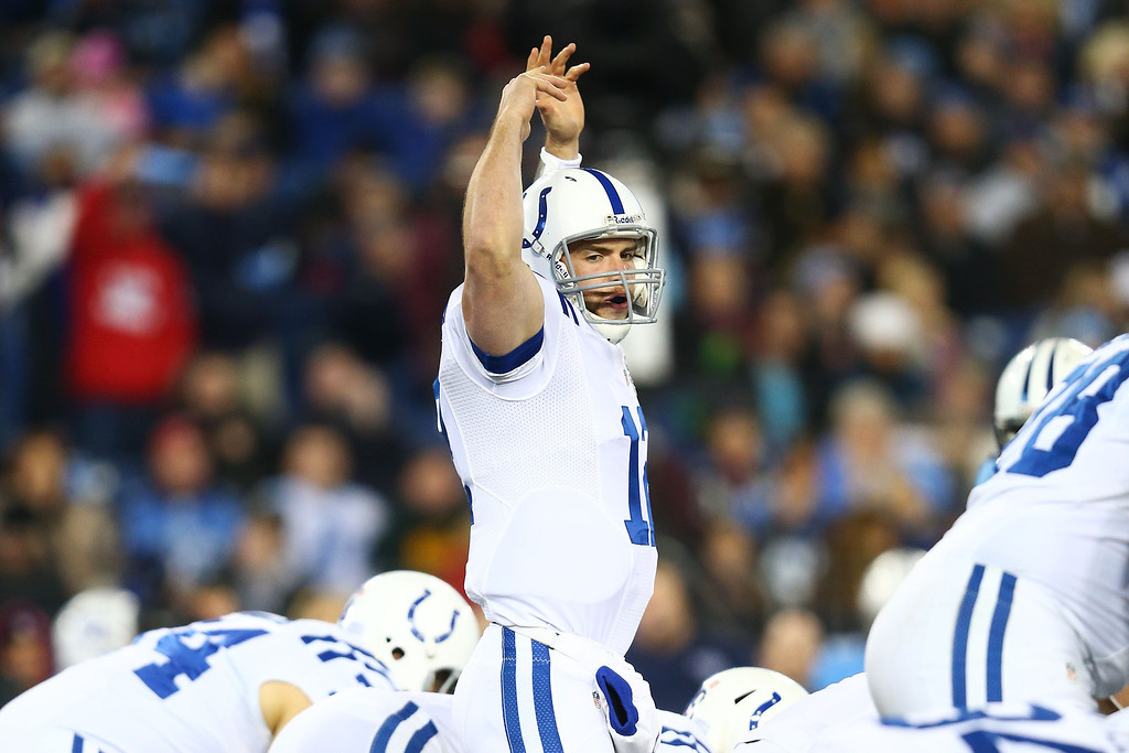 . NASHVILLE, TN - NOVEMBER 14:   Andrew Luck #12 of the Indianapolis Colts calls a play in the first quarter against the Tennessee Titans at LP Field on November 14, 2013 in Nashville, Tennessee.  (Photo by Andy Lyons/Getty Images)