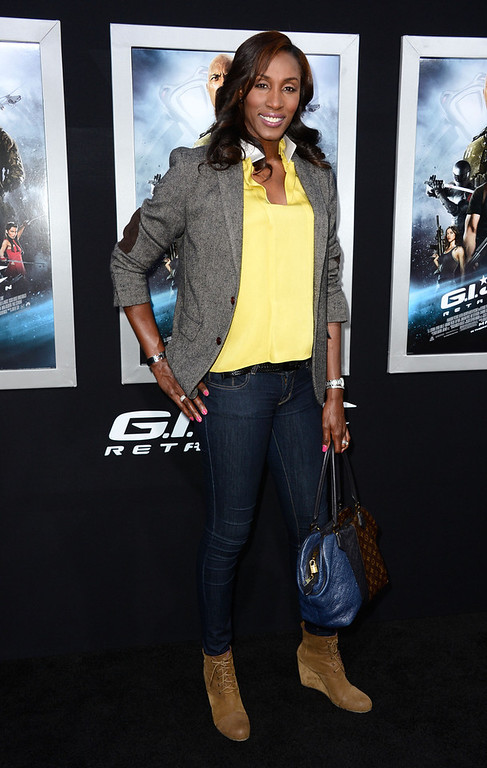". Former WNBA Player Lisa Leslie arrives at the premiere of Paramount Pictures\' ""G.I. Joe: Retaliation\"" at TCL Chinese Theatre on March 28, 2013 in Hollywood, California.  (Photo by Frazer Harrison/Getty Images)"