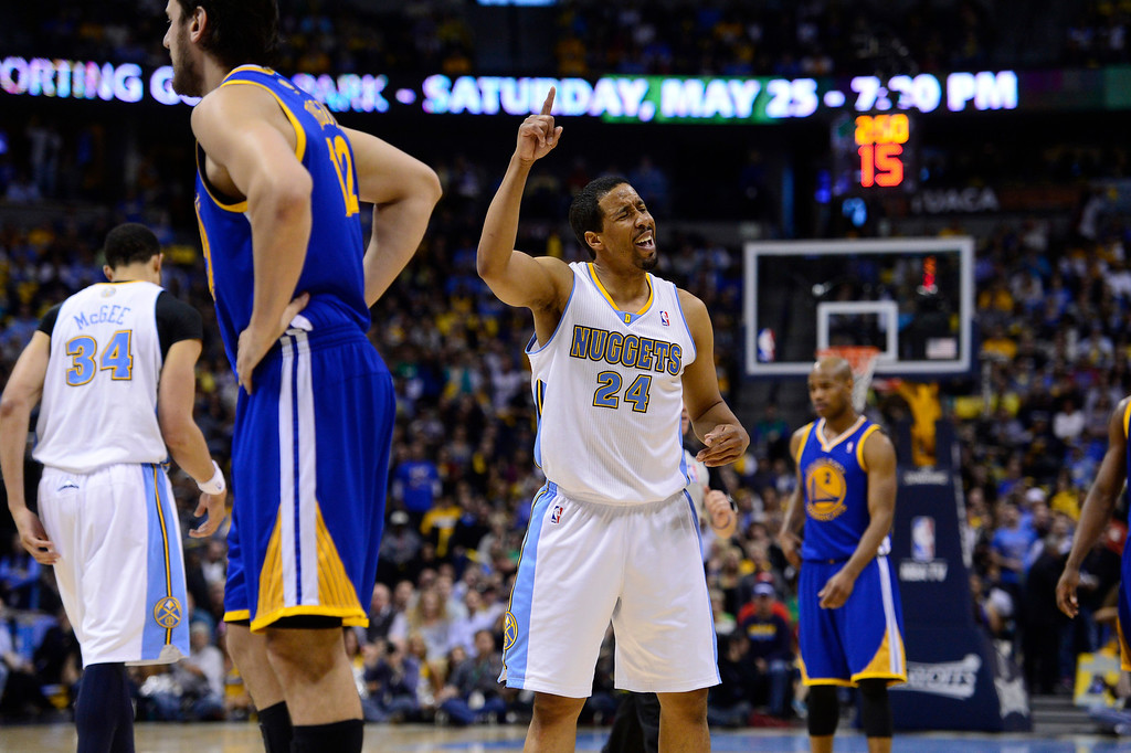 . Denver Nuggets point guard Andre Miller (24) celebrates in the second quarter. The Denver Nuggets took on the Golden State Warriors in Game 5 of the Western Conference First Round Series at the Pepsi Center in Denver, Colo. on April 30, 2013. (Photo by AAron Ontiveroz/The Denver Post)