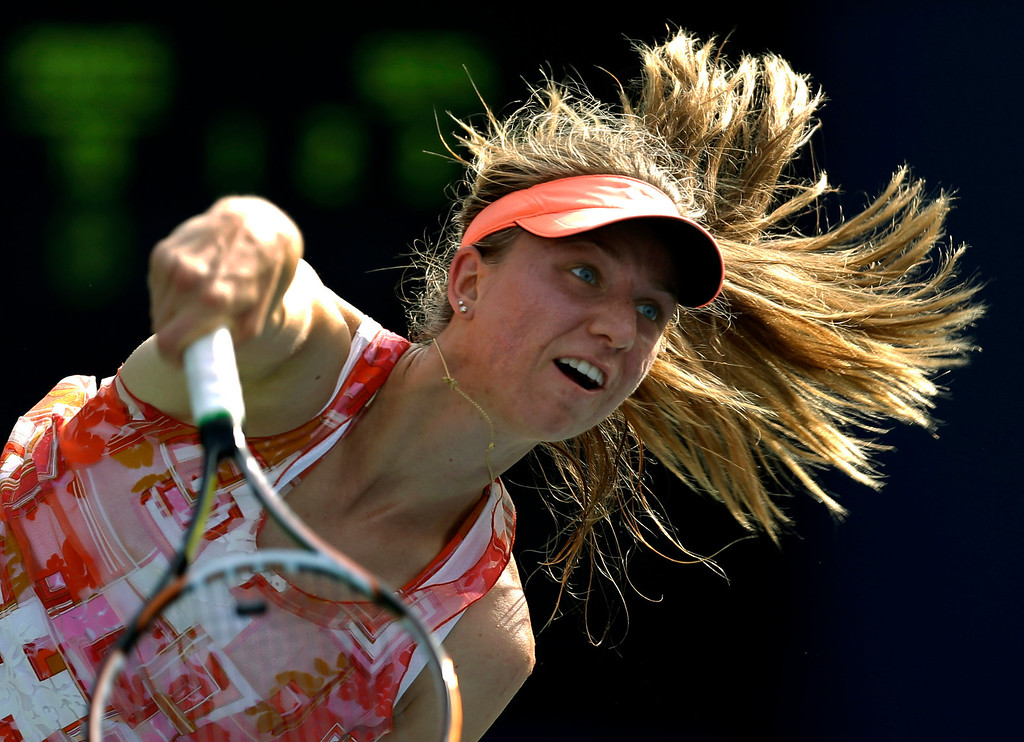 . Mona Barthel, of Germany, serves to Alison Riske during the second round of the 2013 U.S. Open tennis tournament, Thursday, Aug. 29, 2013, in New York. (AP Photo/Darron Cummings)