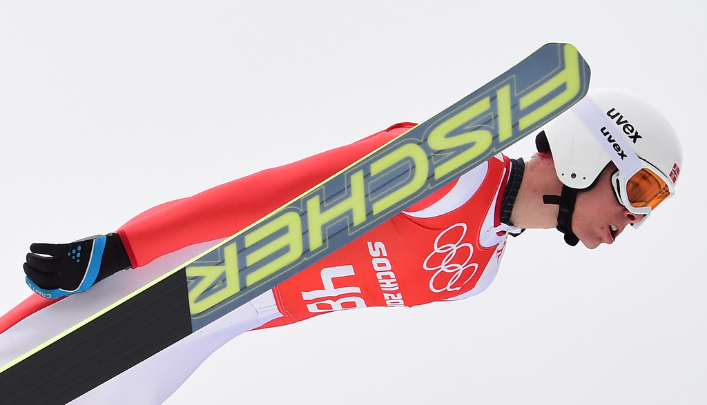. Norway\'s Magnus Krog competes in the Nordic Combined Individual NH / 10 km Ski Jumping official training at the RusSki Gorki Jumping Center during the Sochi Winter Olympics on February 17, 2014, in Rosa Khutor, near Sochi. AFP PHOTO / JOHN  MACDOUGALL/AFP/Getty Images