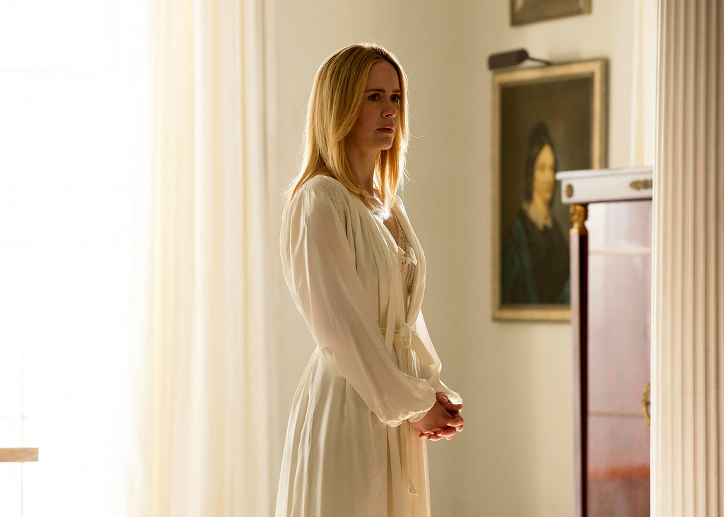". This image released by FX shows Sarah Paulson as Cordelia in a scene from ""American Horror Story: Coven.\"" Paulson was nominated for an Emmy Award for best actress in a miniseries or movie on Thursday, July 10, 2014. The 66th Primetime Emmy Awards will be presented Aug. 25 at the Nokia Theatre in Los Angeles. (AP Photo/FX, Michele K. Short)"