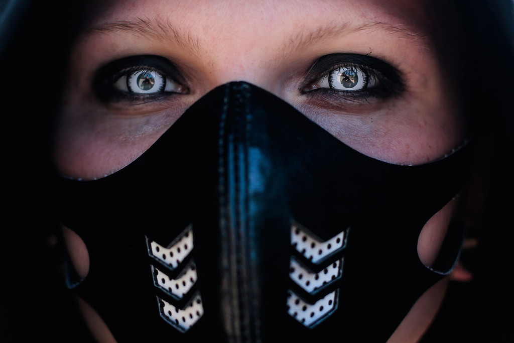 . A participant arrives at the Wave Gothic Festival in Leipzig, central Germany, Friday, June 6, 2014.   About 20,000 members of  the Gothic scene from all over the world are expected to attend  the 23rd edition of the Wave Gothic Festival . (AP Photo/Markus Schreiber)