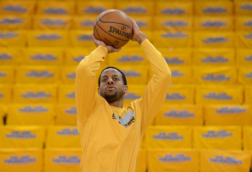 . Andre Iguodala (9) of the Denver Nuggets takes a shot during pre game  in Game 6 against the Golden State Warriors of the first round NBA Playoffs May 2, 2013 at Oracle Arena. (Photo By John Leyba/The Denver Post)