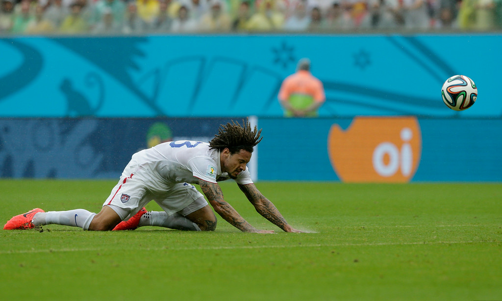 . United States\' Jermaine Jones cannot reach the ball during the group G World Cup soccer match between the USA and Germany at the Arena Pernambuco in Recife, Brazil, Thursday, June 26, 2014. (AP Photo/Matthias Schrader)