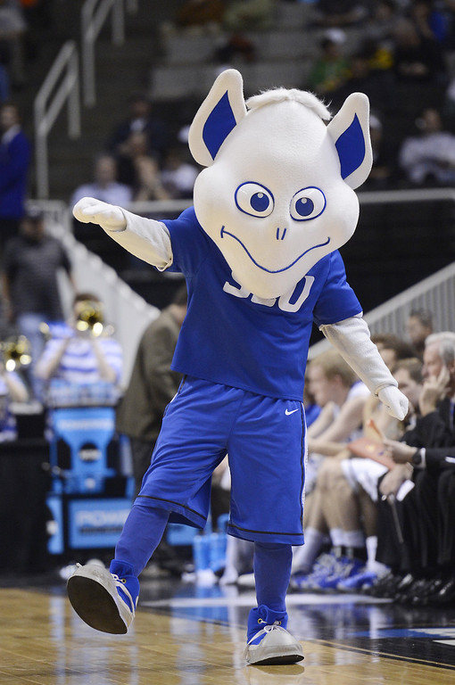 . The Saint Louis Billikens mascot performs in the second half against the New Mexico State Aggies during the second round of the 2013 NCAA Men\'s Basketball Tournament at HP Pavilion on March 21, 2013 in San Jose, California.  (Photo by Thearon W. Henderson/Getty Images)