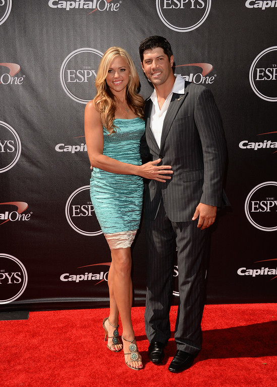 . LOS ANGELES, CA - JULY 16: USA softball player Jennie Finch and husband MLB baseball player Casey Daigle attend The 2014 ESPYS at Nokia Theatre L.A. Live on July 16, 2014 in Los Angeles, California.  (Photo by Jason Merritt/Getty Images)