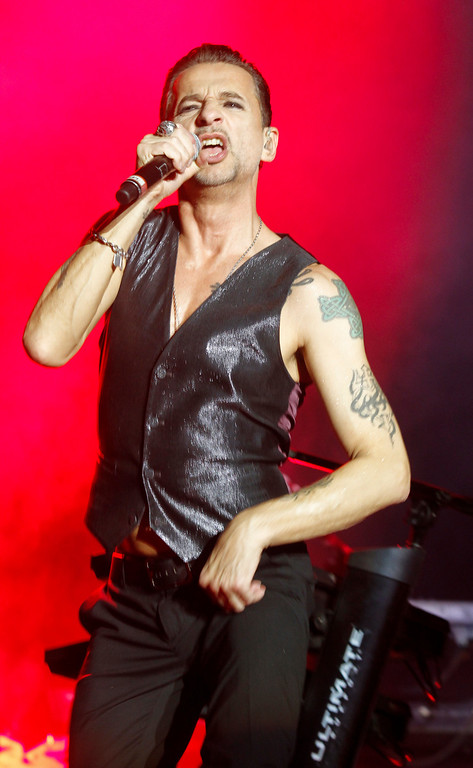 . Depeche Mode\'s Dave Gahan performs on Day 1 of the 2013 Austin City Limits Music Festival at Zilker Park on Friday, Oct. 4, 2013 in Austin, Texas. (Photo by Jack Plunkett/Invision/AP)
