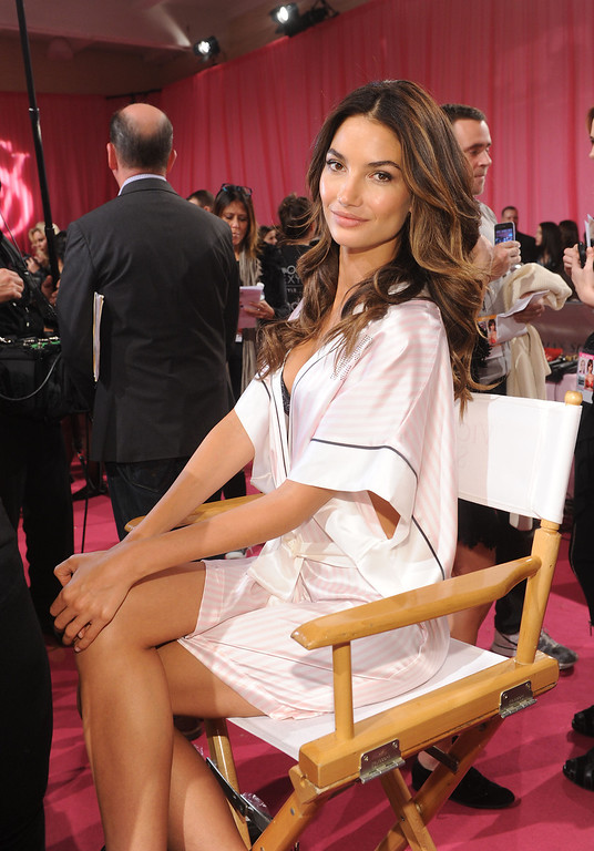 . Model Lily Aldridge poses at the 2013 Victoria\'s Secret Fashion Show hair and make-up room at Lexington Avenue Armory on November 13, 2013 in New York City.  (Photo by Jamie McCarthy/Getty Images)