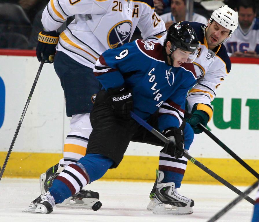 . Colorado Avalanche\'s Matt Duchene (9) battles for control of the puck with Buffalo Sabres center Zenon Konopka in the first period of an NHL hockey game in Denver, Saturday, Feb. 1, 2014. (AP Photo/David Zalubowski)