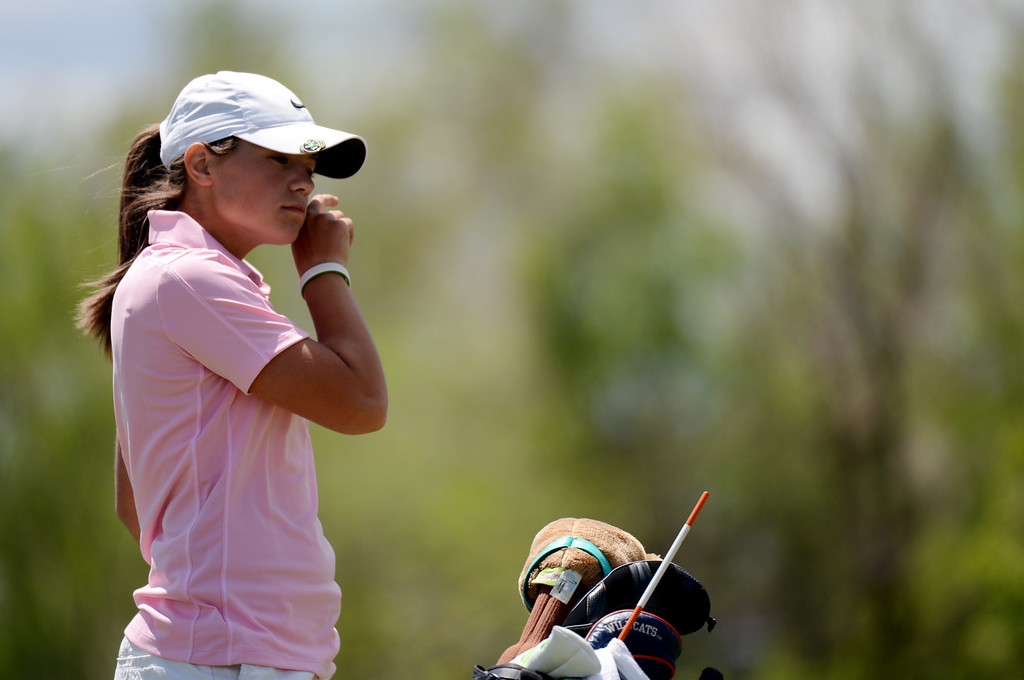 . ENGLEWOOD, CO. - MAY 21 : Kylee Sullivan of Cheyenne Mountain High School is in State 4A Girl\'s Golf Championship final round at Broken Tree Golf Course. Englewood, Colorado. May 21, 2013. (Photo By Hyoung Chang/The Denver Post)