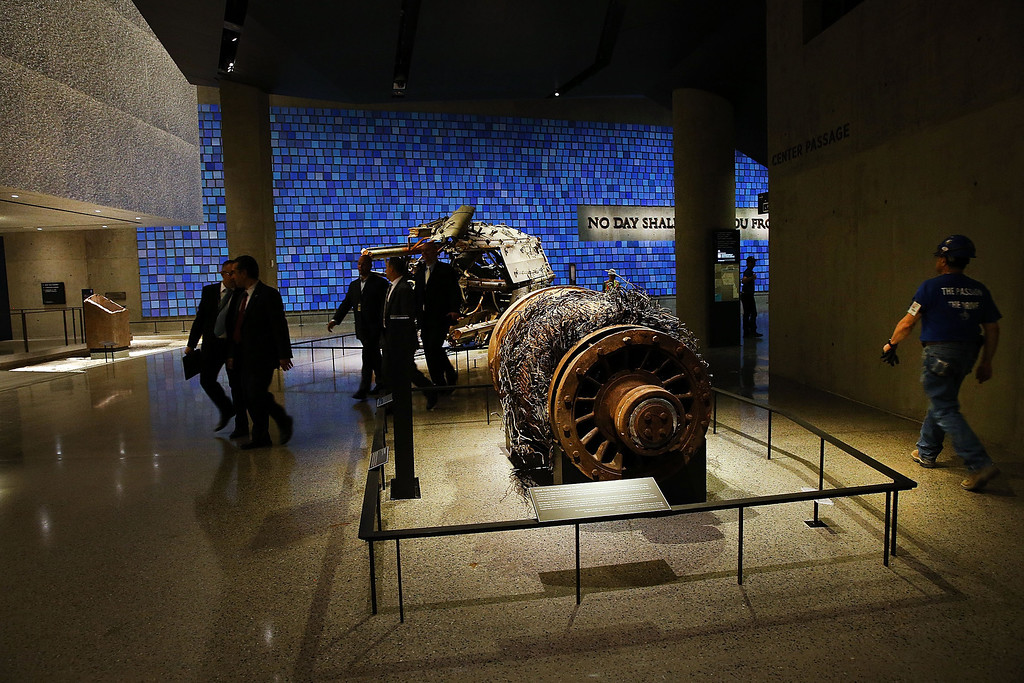 . Artifacts from Ground Zero, including an elevator motor from one of the buildings, is viewed during a preview of the National September 11 Memorial Museum on May 14, 2014 in New York City.   (Photo by Spencer Platt/Getty Images)