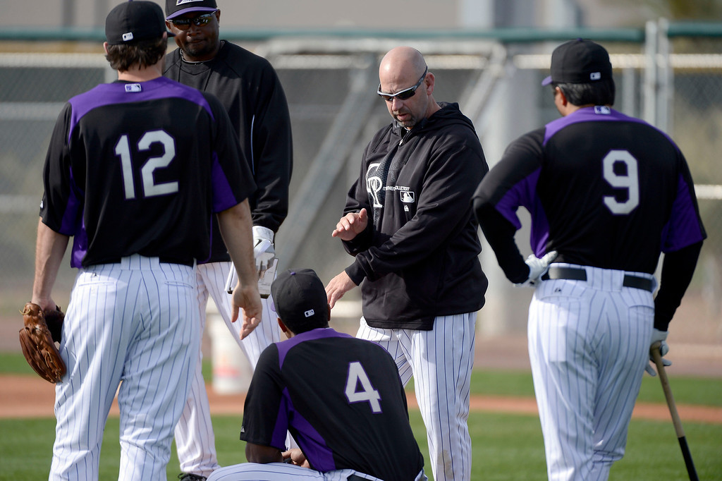 . SCOTTSDALE, AZ. - FEBRUARY 19: Colorado Rockies manager Walt Weiss (22) talks during defense explanation at Spring Training February 19, 2013 in Scottsdale. (Photo By John Leyba/The Denver Post)
