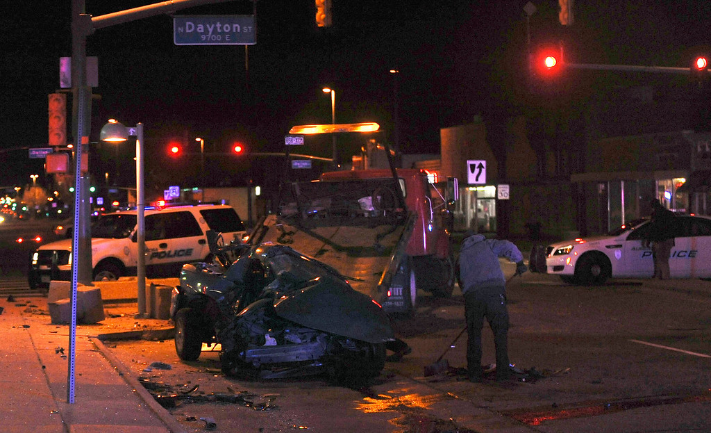 . 17-year-old Juan Carlos Dominguez-Palomino, the driver of a Chevy Camaro was killed in a crash by the driver of a Ford Expedition near the intersection of Colfax Ave. and Dayton St. early Monday morning. Steve Nehf, The Denver Post.