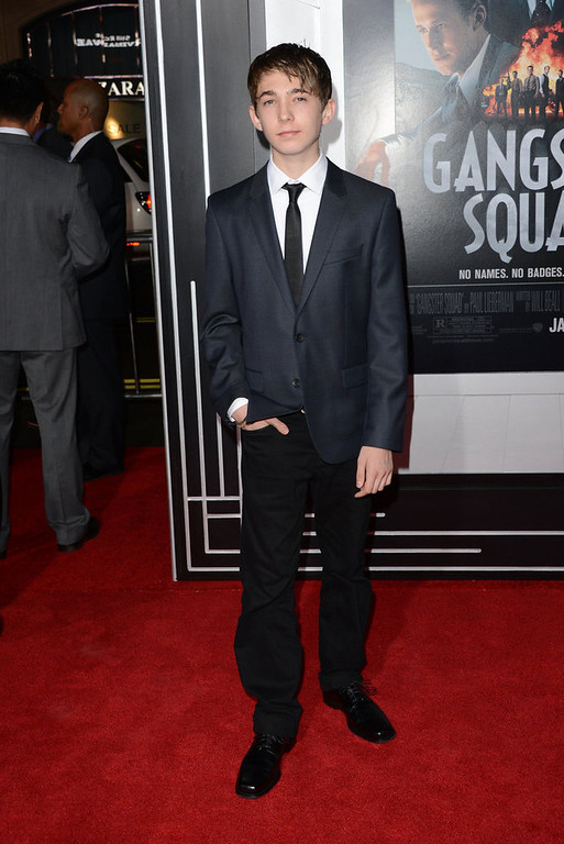 """. Actor Austin Abrams arrives at Warner Bros. Pictures\' \""""Gangster Squad\"""" premiere at Grauman\'s Chinese Theatre on January 7, 2013 in Hollywood, California.  (Photo by Jason Merritt/Getty Images)"""