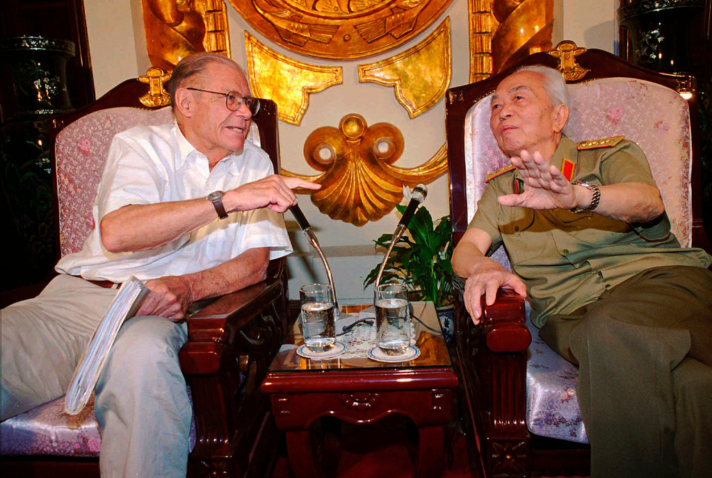 . In this Monday, June 23, 1997, file photo, former U.S. Defense Secretary Robert McNamara, left, speaks to his onetime foe Gen. Vo Nguyen Giap in Hanoi, Vietnam. Officials say Giap, the military mastermind who drove the French and the Americans out of Vietnam, died at a Hanoi hospital Friday, Oct. 4, 2013, at age 102. He was the country\'s last famous communist revolutionary, and used ingenious guerrilla tactics to overcome enormous odds against superior forces. (AP Photo/Tri Hieu, File)