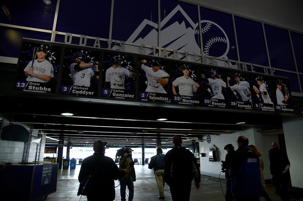. Dick Monfort, owner, chairman and CEO of the Rockies leads the media on a tour of the new and updated renovations including the rooftop April 2, 2014. When fans enter the stadium they will see the starting lineup for the day located at the home plate entrance. The Rooftop includes the Rio and Chub Burgers. The Rockies took out the right field upper decks to create the scenic view of downtown Denver. They removed about 3500 seats to make way for the Rooftop. Photo by John Leyba/The Denver Post)