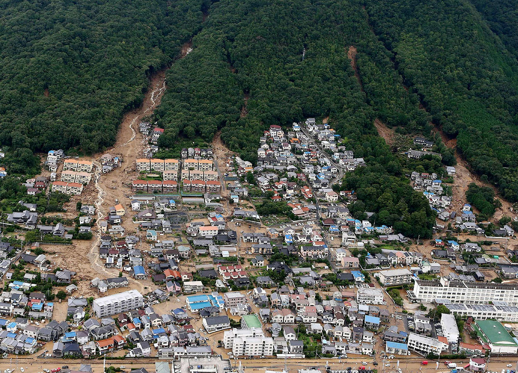 . This aerial view shows the damage caused by a landslide after heavy rains hit the city of Hiroshima, western Japan, on August 20, 2014.  PHOTO/Jiji PressJIJI PRESS/AFP/Getty Images