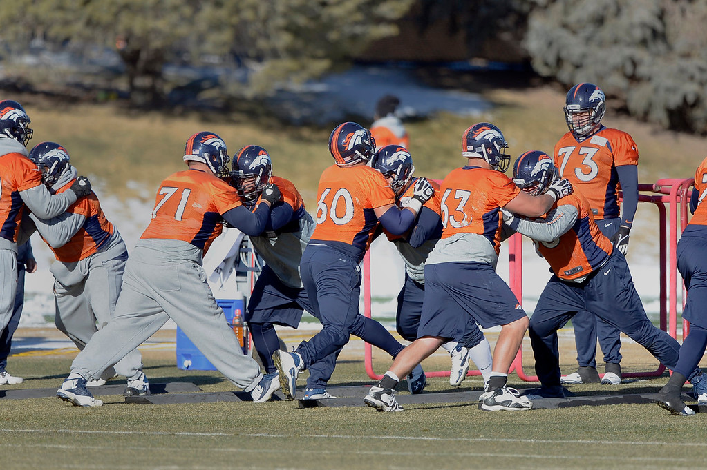 . Denver Broncos offensive line gets in reps during practice January 2, 2014 at Dove Valley (Photo by John Leyba/The Denver Post)