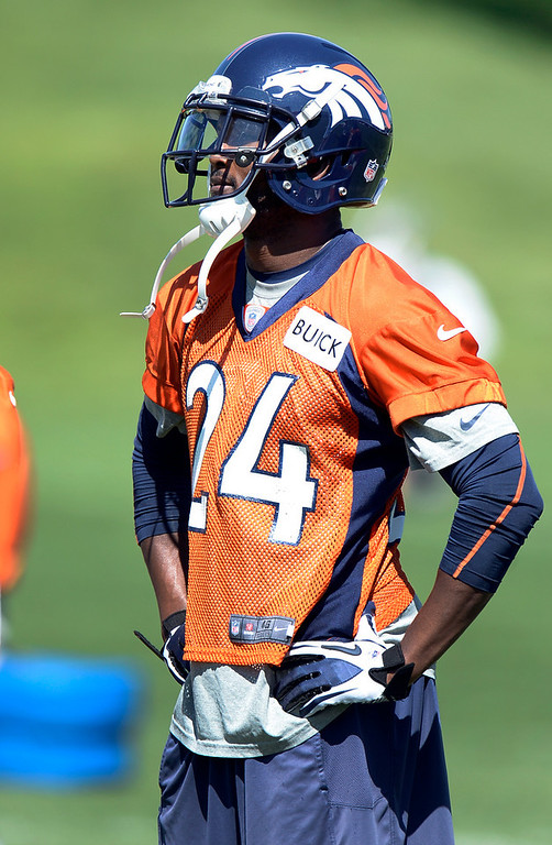 . Champ Bailey of the Denver Broncos looks on during OTAs June 6, 2013 at Dove Valley. (Photo By John Leyba/The Denver Post)